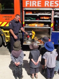 SFF Paul Barbet talks with children from a local kindergarten